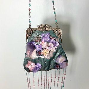 Wayne M Kleski Vintage Appliqué Floral Bag Fringe